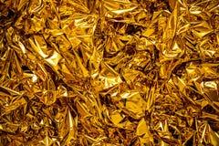 Empañe la textura de la hoja de oro, fondo del oro fotografía de archivo libre de regalías