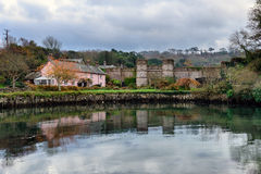 Empacombe Quay in Cornwall. Winter at Empacombe Quay in Mount Edgcumbe in Cornwall Stock Photography