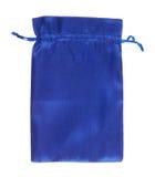 Empacotamento azul do saco de cordão isolado Fotografia de Stock Royalty Free
