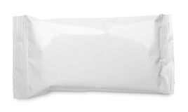 Empacotamento de alimento vazio do malote plástico no branco imagem de stock royalty free