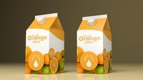 Empacotamento do papel do suco de laranja ilustração 3D Imagens de Stock Royalty Free