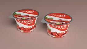 Empacotamento plástico do copo do iogurte da morango ilustração 3D Imagens de Stock