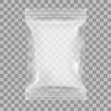 Empacotamento transparente para petiscos, microplaquetas, açúcar, especiarias, ou o outro alimento Foto de Stock