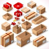 Empacotando 01 objetos isométricos Imagens de Stock