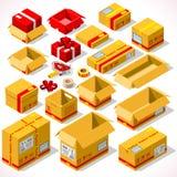 Empacotando 02 objetos isométricos Imagens de Stock