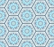 Empalideça - flocos de neve azuis no teste padrão sem emenda dos hexágonos ilustração stock