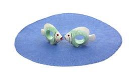 Empalideça - suportes verdes do guardanapo dos peixes Foto de Stock Royalty Free