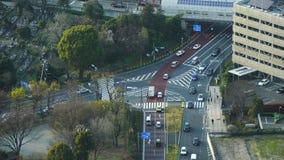 Empalme de camino con tráfico en Tokio, Japón metrajes