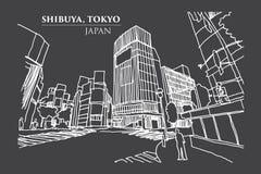 Empalme de la travesía de Shibuya, TOKIO, JAPÓN en la línea arte, vector de la tinta Imagenes de archivo