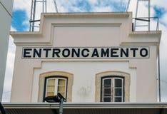Empalme del ferrocarril de Entroncamento en el distrito de Santarem de Portugal Entroncamento significa literalmente el empalme a Imagenes de archivo