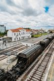 Empalme del ferrocarril de Entroncamento en el distrito de Santarem de Portugal Entroncamento significa literalmente el empalme a Fotografía de archivo libre de regalías