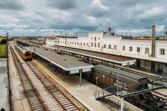 Empalme del ferrocarril de Entroncamento en el distrito de Santarem de Portugal Entroncamento significa literalmente el empalme a Foto de archivo libre de regalías