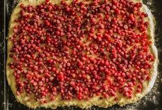 Empanada cruda de la pasa roja en una cacerola de la empanada del metal Frutas y bayas rojas Foto de archivo