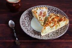 Empanada de Apple Charlotte con leche condensada Fotografía de archivo