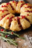 Empanada de carne de la Navidad con cierre-u de los arándanos, del romero y del queso Fotos de archivo libres de regalías