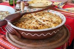 Empanada de la patata con las verduras y el queso Fotografía de archivo