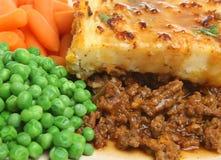 Empanada de los pastores con los guisantes y las zanahorias Foto de archivo