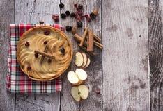 Empanada de manzana grande adornada con las rebanadas de la manzana, las pasas y los palillos de canela Fotografía de archivo libre de regalías