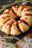 Empanada del pollo de la Navidad con los arándanos y el primer del queso Vert Fotografía de archivo