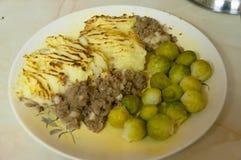 Empanada del ` s del pastor con las coles de Bruselas Imagen de archivo libre de regalías