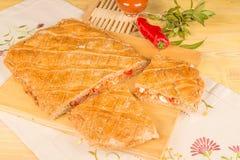Empanada gallega. A freshly baked empanada, homemade  food from nothern Spain Royalty Free Stock Image