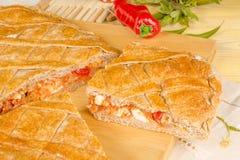 Empanada gallega still life. A freshly baked empanada, homemade  food from nothern Spain Royalty Free Stock Photos
