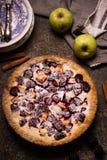 Empanada hecha en casa con las manzanas y la zarzamora en fondo de piedra oscuro imagenes de archivo