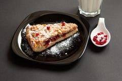 Empanada hecha en casa con un arándano en un fondo oscuro Fotos de archivo libres de regalías