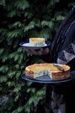 Empanada hecha en casa de la jalea con el huevo, la cebolla y verdes outdoors imágenes de archivo libres de regalías