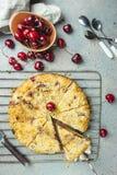 Empanada hecha en casa de la migaja de la cereza imagen de archivo