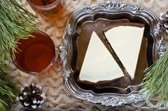 Empanada hecha en casa del chocolate con el queso cremoso Foto de archivo libre de regalías