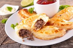 Empanada. With minced beef and sauce Stock Photography