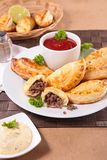 Empanada. With minced beef and sauce Stock Photos