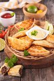 Empanada and sauce Royalty Free Stock Photos