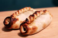 Empanadas argentinas on a table royalty free stock photos