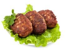 Empanadas de la carne con lechuga fresca Imagen de archivo libre de regalías