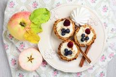 Empanadas de los pasteles de la avena con crema de la manzana Foto de archivo