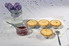 Empanadas de manzana hechas caseras frescas con el atasco de frambuesa Imagen de archivo libre de regalías