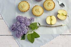 Empanadas de manzana hechas caseras frescas con la manzana Imagen de archivo libre de regalías