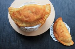 Empanadas fritas comida asiática tradicional con la carne Foto de archivo libre de regalías