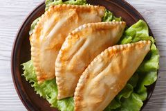 Empanadas on a plate close-up. horizontal view from above Royalty Free Stock Photography