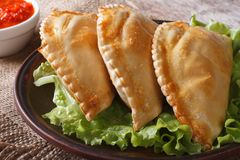 Empanadas on a plate with lettuce and sauce close up on the tabl Royalty Free Stock Photo