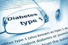 Empapele con tipo 1 de la diabetes de las palabras Foto de archivo libre de regalías