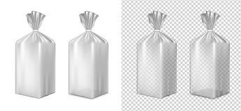 Empaquetado de la hoja o del papel Bolsita para el pan, café, dulces, cooki stock de ilustración