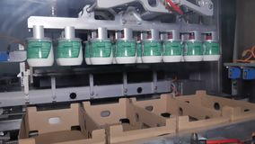 Empaquetado de productos lácteos acabados almacen de metraje de vídeo