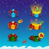 Empaquetado del regalo abierto y cerrado para los interfaces del juego Fotografía de archivo libre de regalías