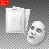 Empaquetado facial de los cosméticos de la máscara Diseño de paquete para la mascarilla en fondo transparente Fotografía de archivo