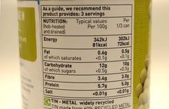 Empaquetage bidon de valeurs nutritives de nourriture images stock