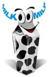 Empaquetage de lait de vache à dessin animé Photos stock