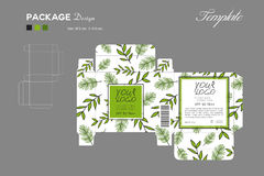 Empaquete el color de piel del polvo del soplo, esquema de la caja, fondo verde stock de ilustración